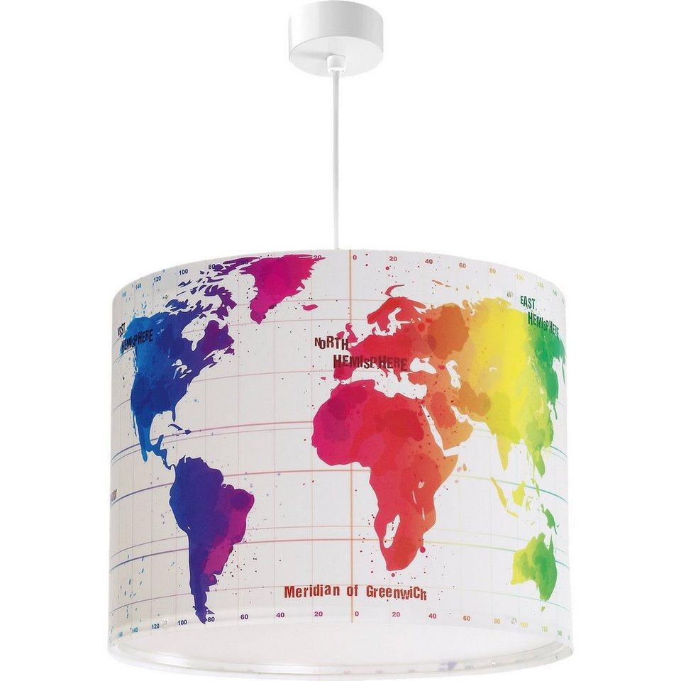 Dalber Hängelampe Weltkarte, bunt in weiß
