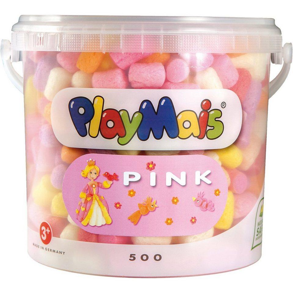 PlayMais BASIC Eimer pink, 500 Maisbausteine