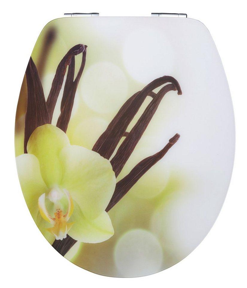 WC-Sitz »Vanilla Cream + gratis Motivstopfen«, Mit Absenkautomatik in weiß-grün