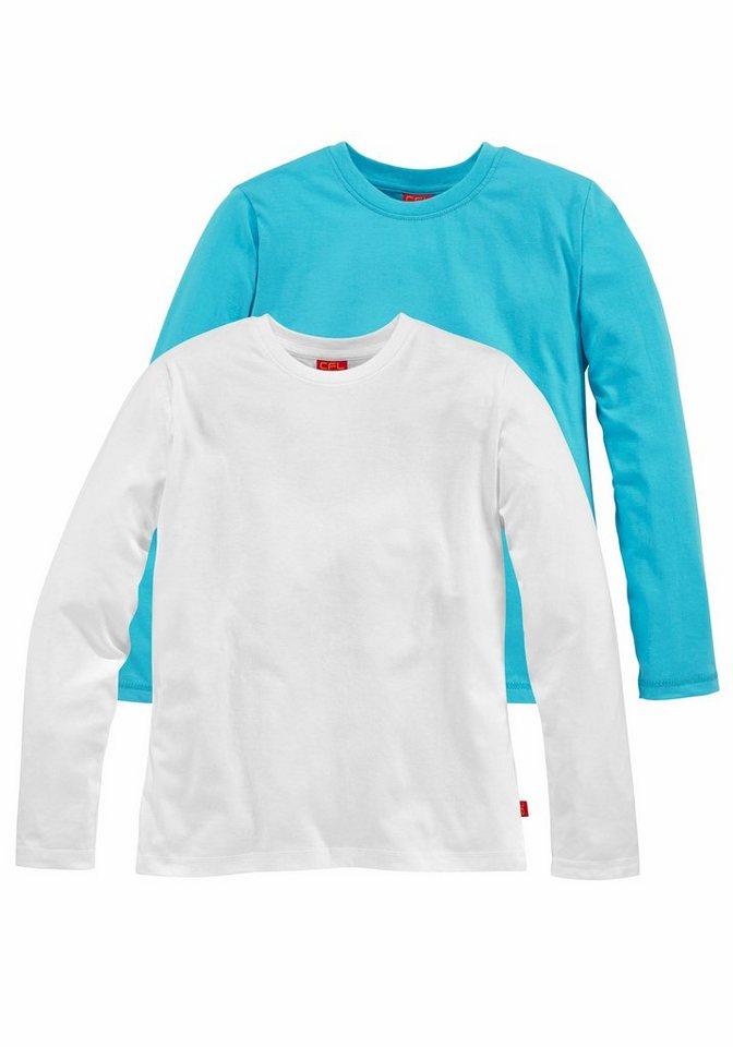 CFL Langarmshirt (Packung, 2 tlg.) in türkis+weiß
