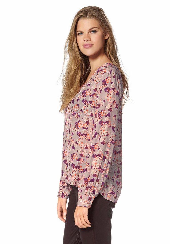 Tommy Hilfiger Klassische Bluse »Madison« in rosa-bordeaux-geblümt