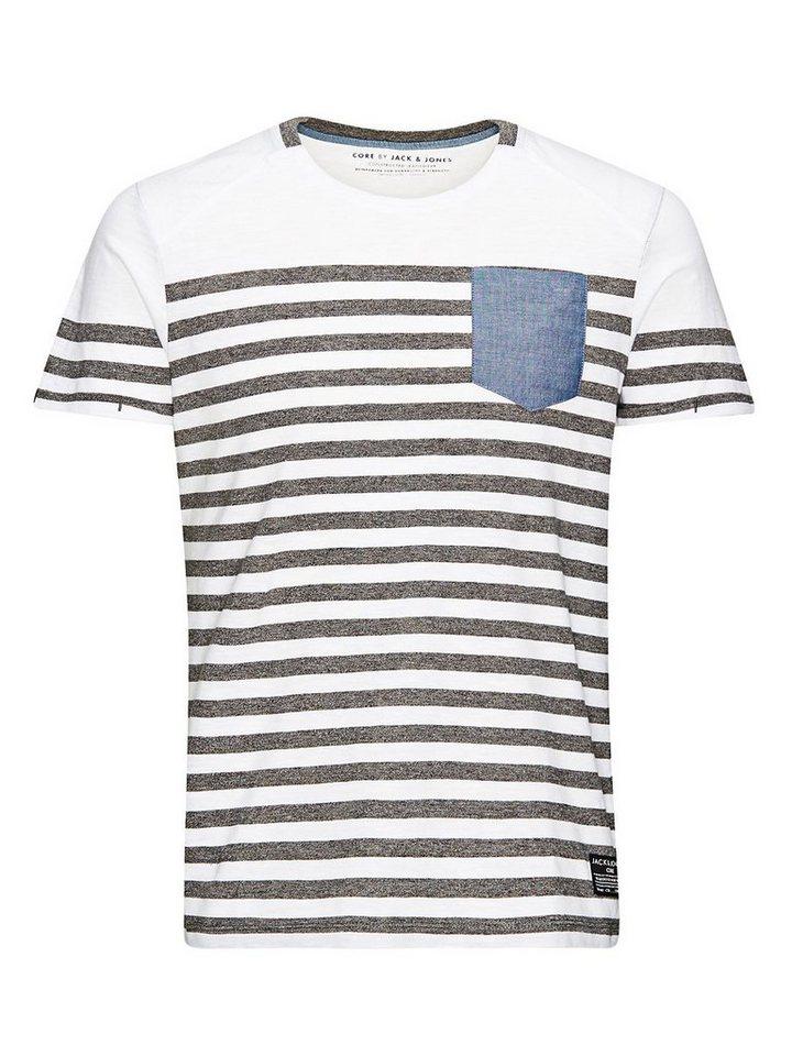 Jack & Jones Gestreift T-Shirt in Grey Melange 1