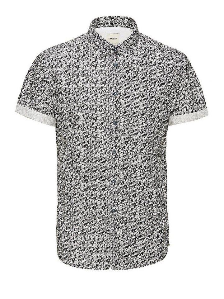 Jack & Jones Schwarz und Weiß gemustert Kurzarmhemd in White