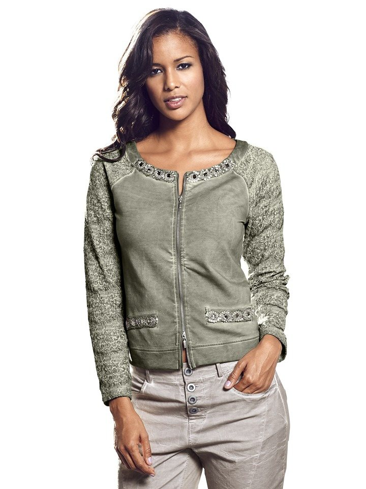 B.C. BEST CONNECTIONS by Heine Shirtjacke mit Spitze in salbei