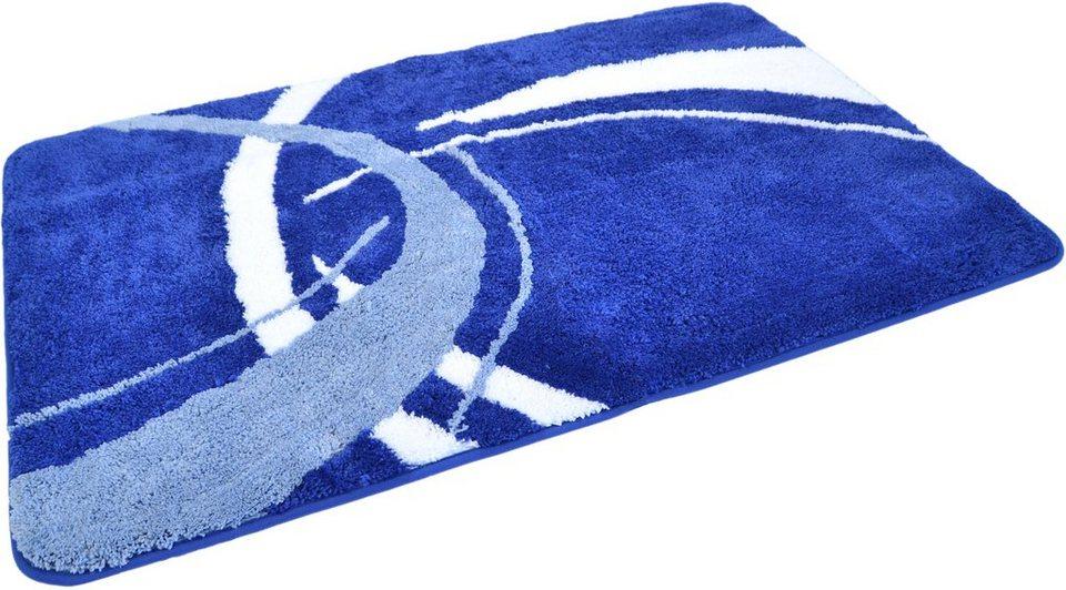 Badematte »Gavere«, Höhe ca. 20mm, Mikrofaser, rutschhemmender Rücken, Kinzler in royalblau