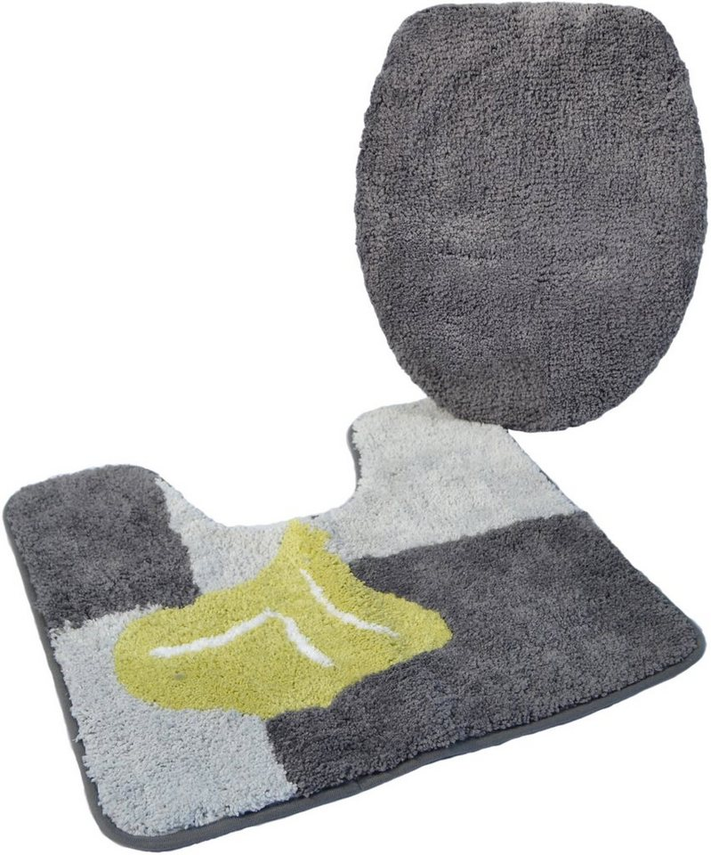 Badematte, Stand WC-Set, »Geel«, Höhe 20 mm, Mikrofaser, rutschhemmender Rücken, Kinzler in anthrazit-grün