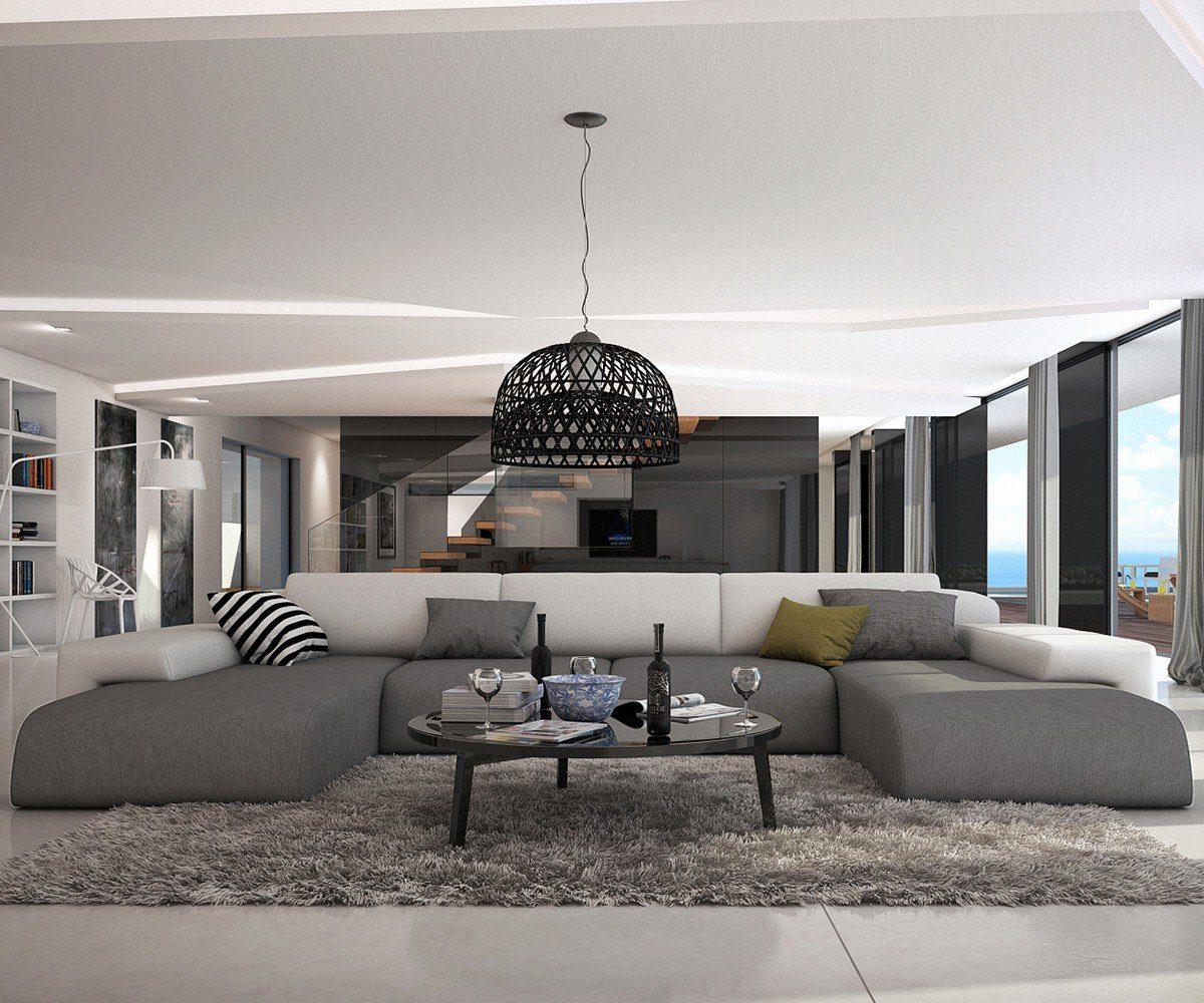 DELIFE Couch Resida Grau Weiss 400x250 cm XXL Sofa Lounge