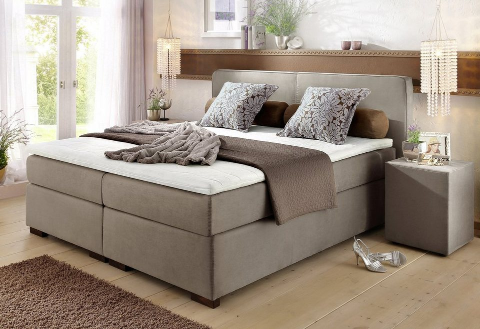 boxspringbett romantica grau beige 180x200cm microfaser coffee ziern hte mit braunem keder. Black Bedroom Furniture Sets. Home Design Ideas