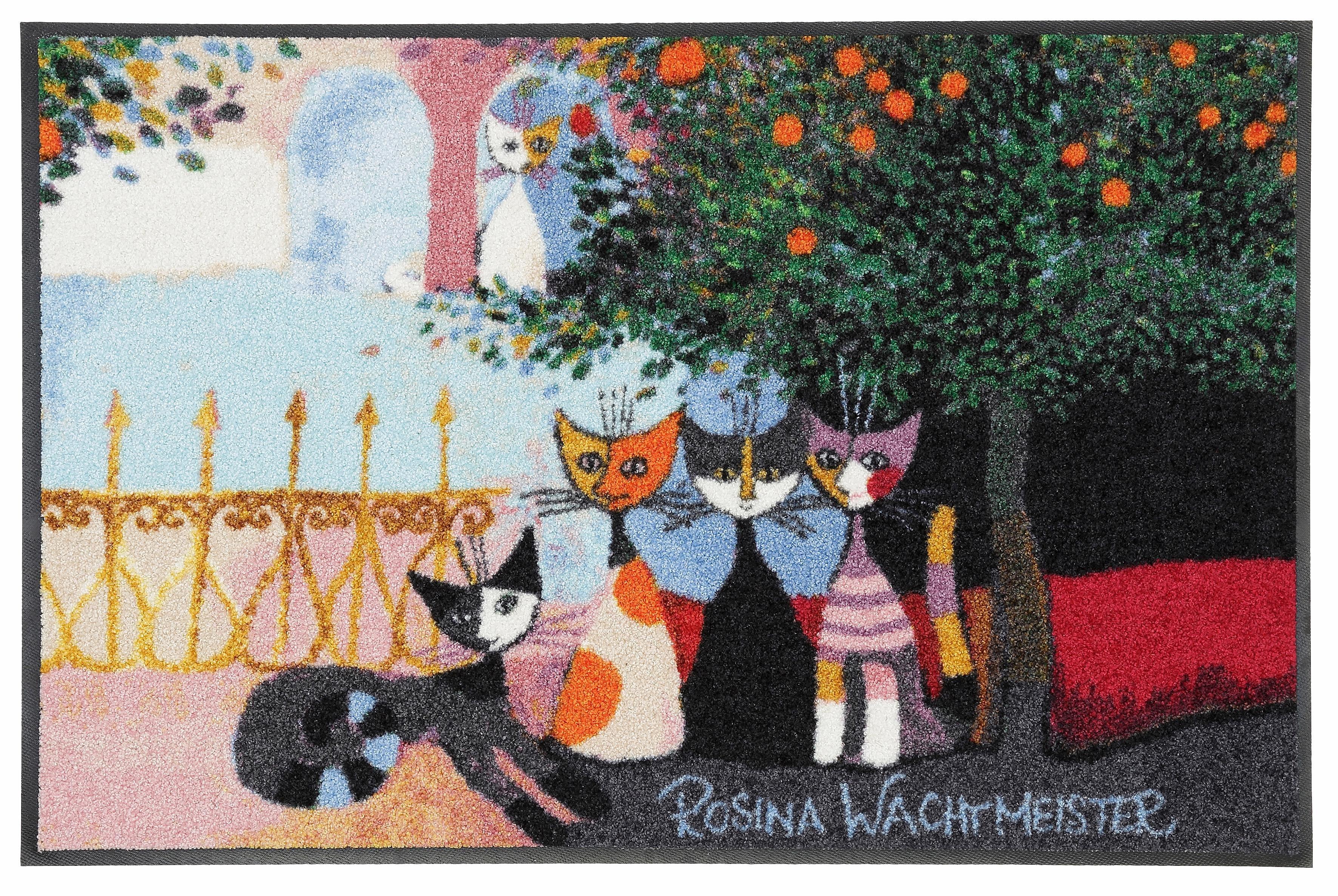 Fußmatte, Rosina Wachtmeister, »Vita Familiare«, mit Katzenmotiv