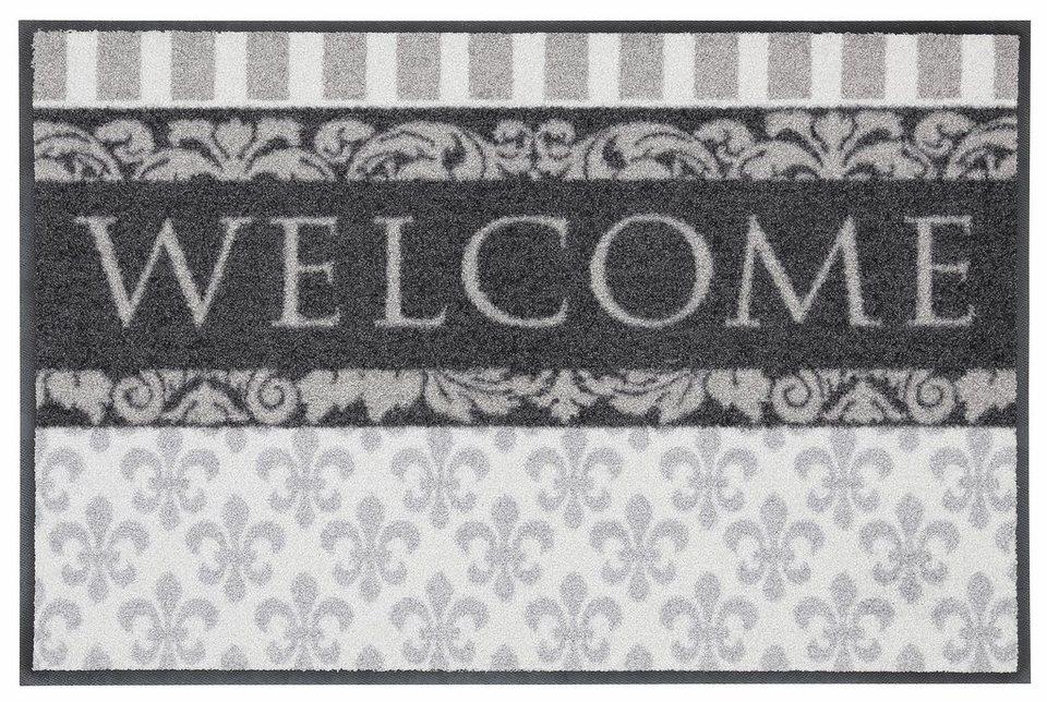 Fußmatte, Salonloewe, »Welcome Lilien« in grau