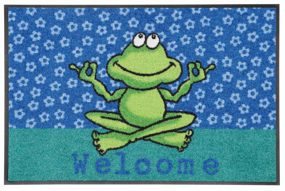 Fußmatte, Salonloewe, »Yoga Frosch« in blau