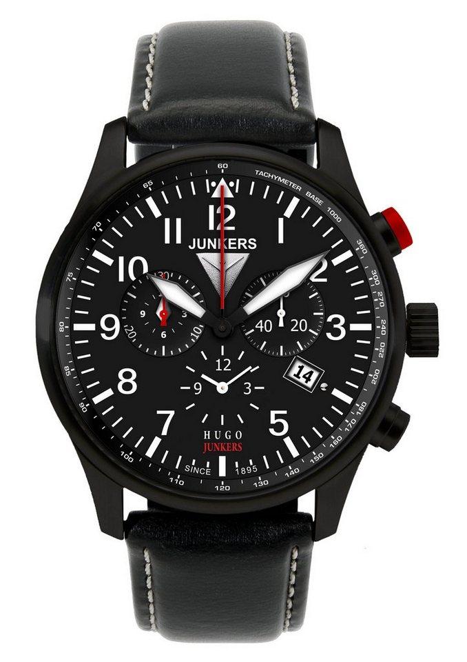 """Junkers-Uhren, Chronograph, """"Hugo Junkers, 6680-2"""" in schwarz"""