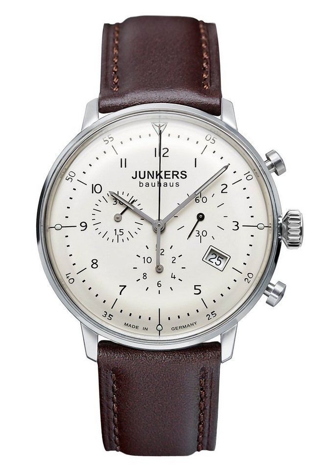 Junkers-Uhren Chronograph »Bauhaus, 6086-5« Made in Germany in braun