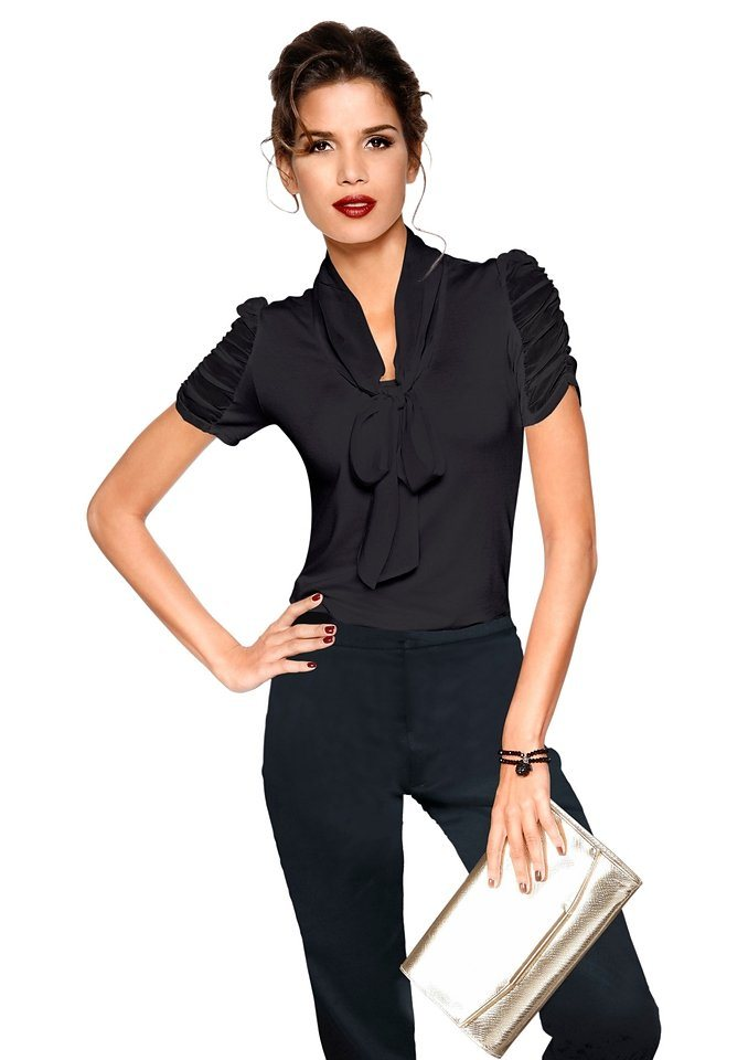 Lady Shirt mit Raff-Ärmeln in schwarz