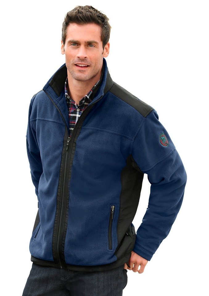 Hajo Fleece-Jacke mit doppeltem Kragen in jeansblau