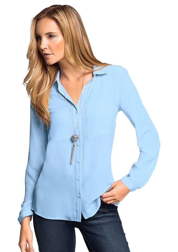 Classic Inspirationen Bluse mit offenem Hemdkragen in hellblau