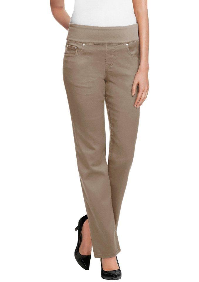 Classic Inspirationen Jeans mit imitierter Reißverschlussblende in sand
