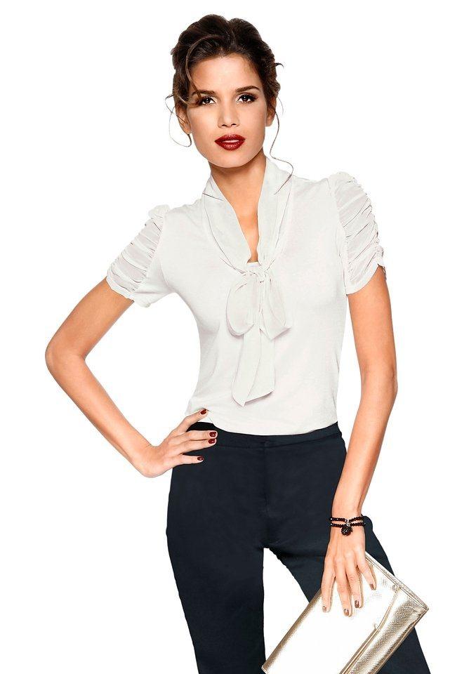 Lady Shirt mit Raff-Ärmeln in wollweiß