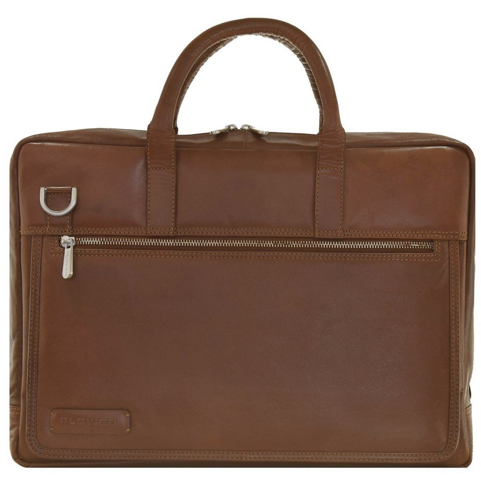 Plevier 200er Serie Aktentasche Leder 43 cm Laptop- und Tabletfach in cognac