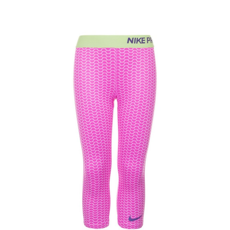 NIKE Pro Allover Print Trainingstight Kinder in lila / lime / pink