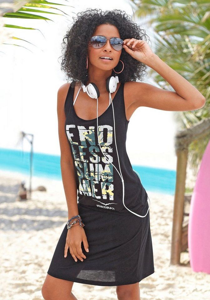 Damen Venice Beach Strandkleid mit Frontprint    08698826156234