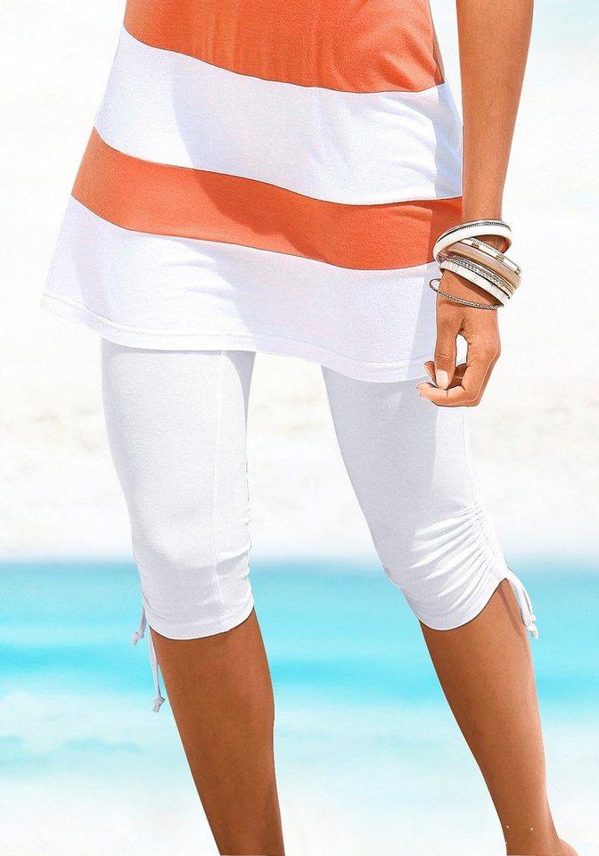 Beachtime Capri-Leggings mit Raffung in weiß