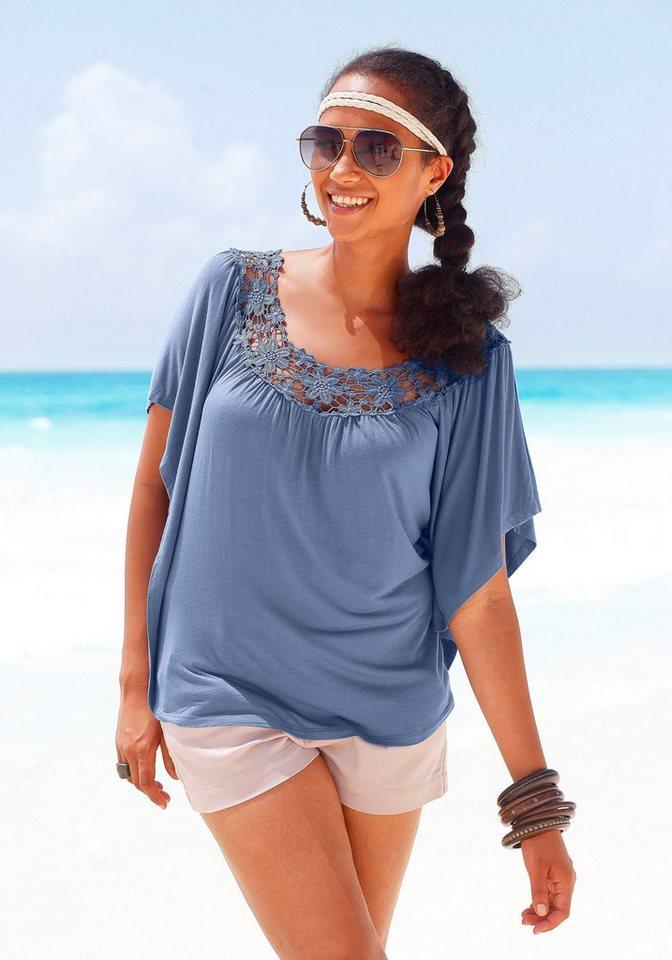 LASCANA Shirt mit breiter Häkelkante am Ausschnitt in blau