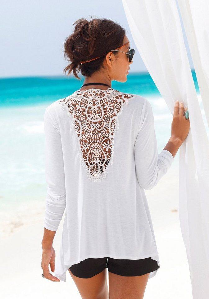 LASCANA Strandjacke mit Häkeleinsatz am Rücken in weiß