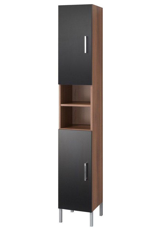 Hochschrank »Barcelona«, Breite 30 cm in nussbaumfarben/schwarz
