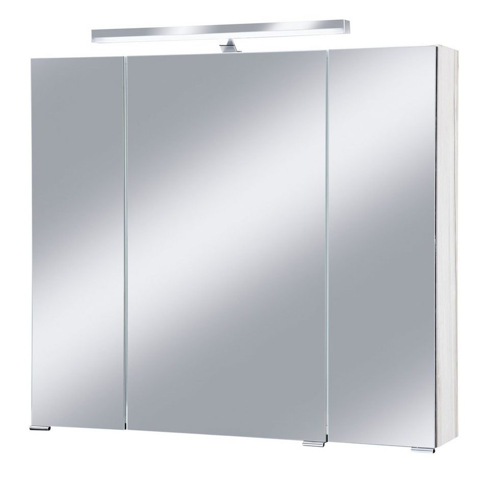 Schildmeyer Spiegelschrank »Monaco« Breite 80 cm, mit Beleuchtung in eichefarben hell