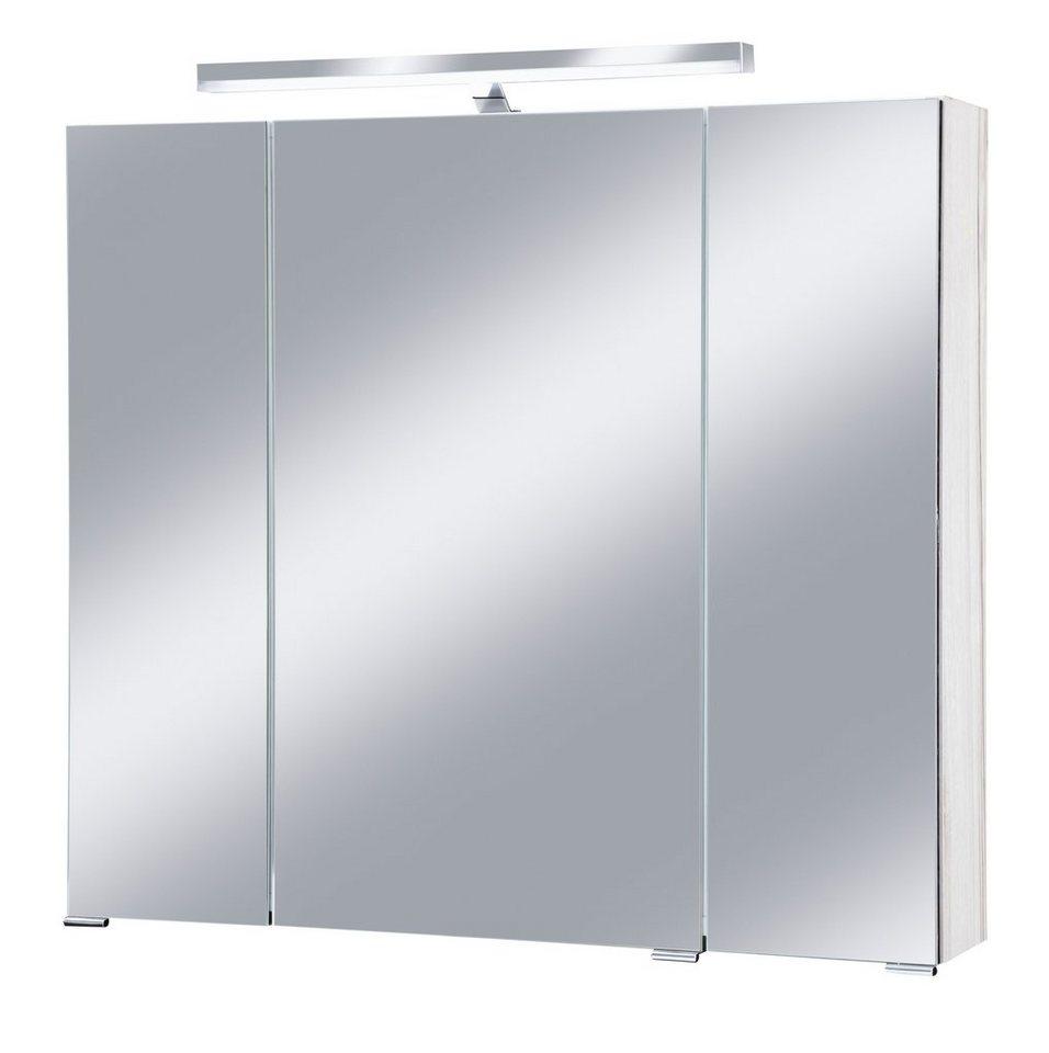 Spiegelschrank »Monaco« Breite 80 cm, mit Beleuchtung in eichefarben hell