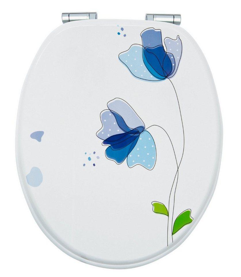 WC-Sitz »Flora Blau«, Mit Absenkautomatik in blau