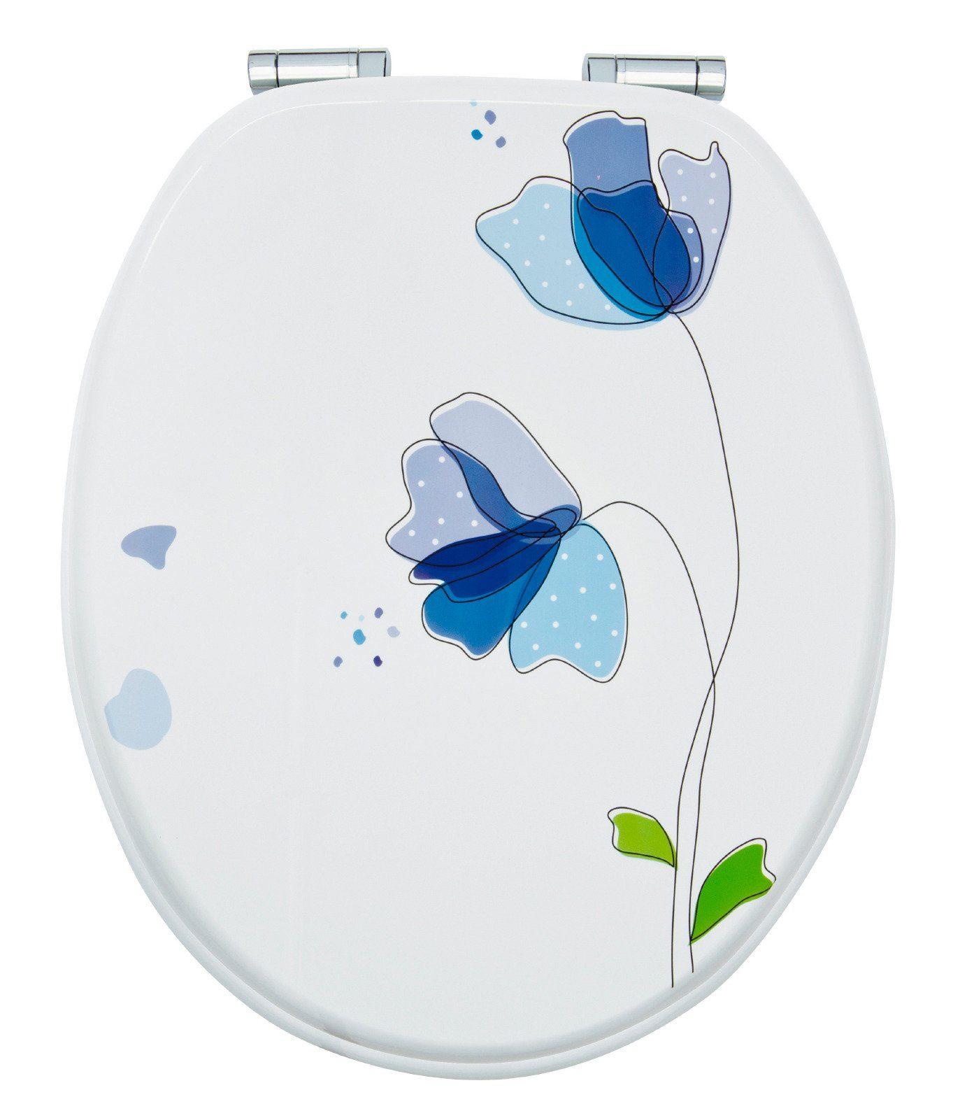 WC-Sitz »Flora Blau«, Mit Absenkautomatik