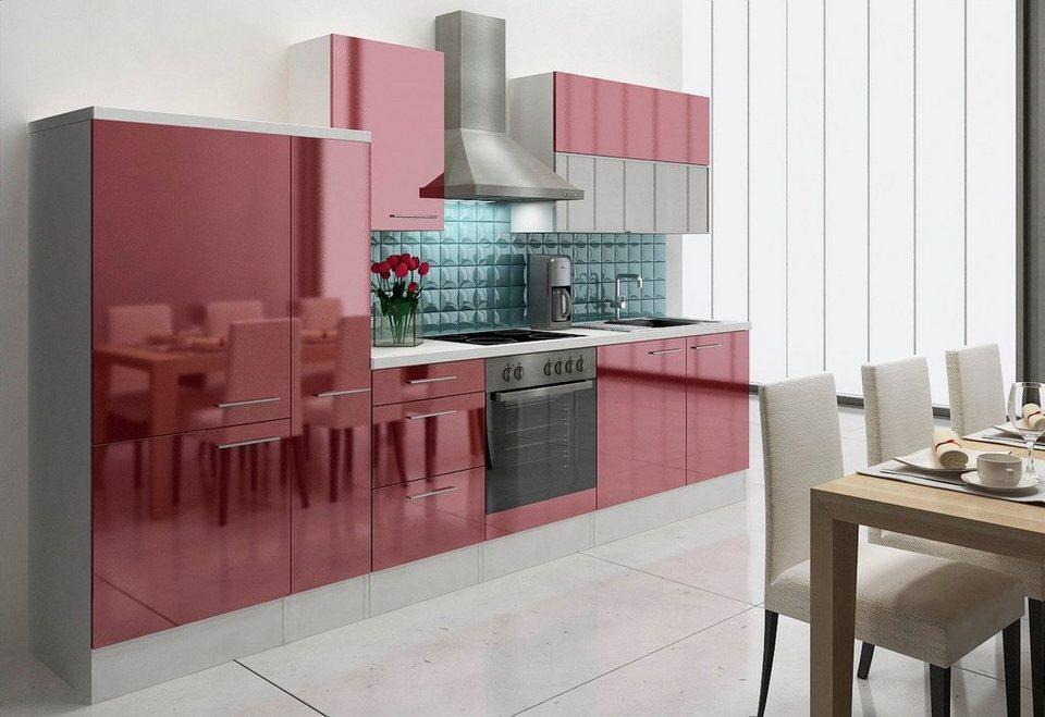 Küchenzeile mit E-Geräten »Lea«, Breite 310 cm, Korpus weiß - Set 2 in bordeaux/weiß