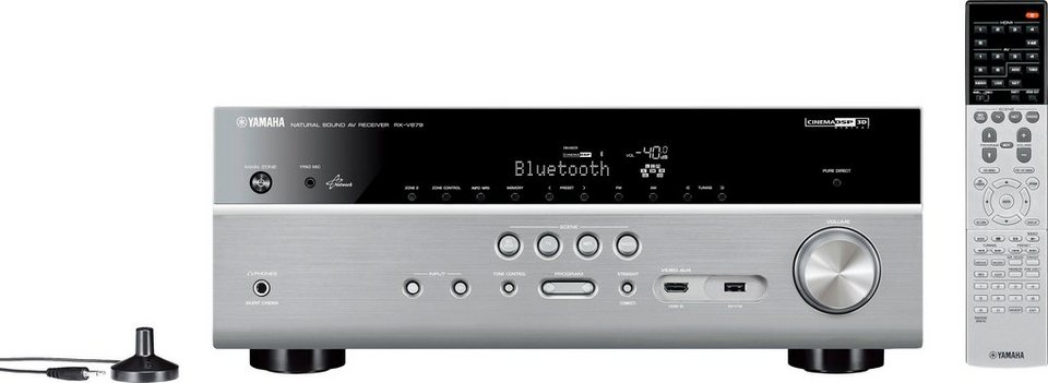 Yamaha RX-V679 7.2 AV-Receiver (3D, Spotify, Airplay, WLAN, Bluetooth) in silberfarben