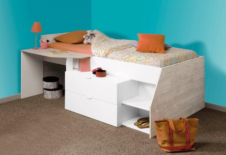 Parisot Halbhohes Bett »Milky« in weiß/eichefarbenen