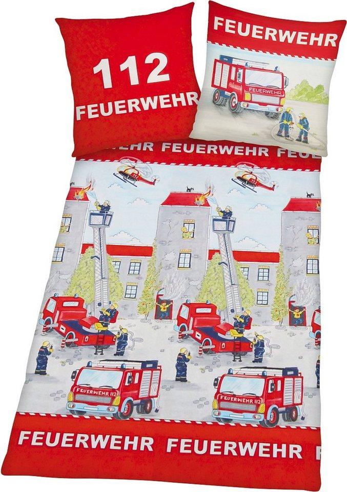 Bettwäsche, Young Collection, »Feuerwehr«, mit Motiv in rot