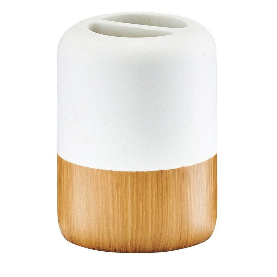 Zahnbürstenhalter »Wood Base« in holzfarben/weiß