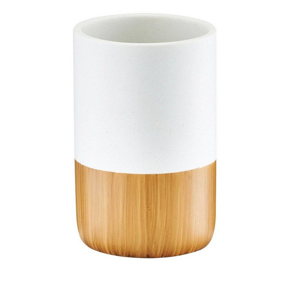 Zahnputzbecher »Wood Base« in holzfarben/weiß