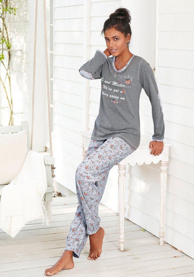 rebelle Pyjama mit Details im Blümchendesign in grau/geblümt