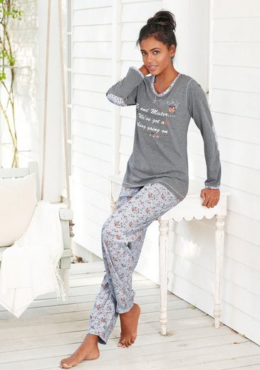 rebelle Pyjama mit Details im Blümchendesign