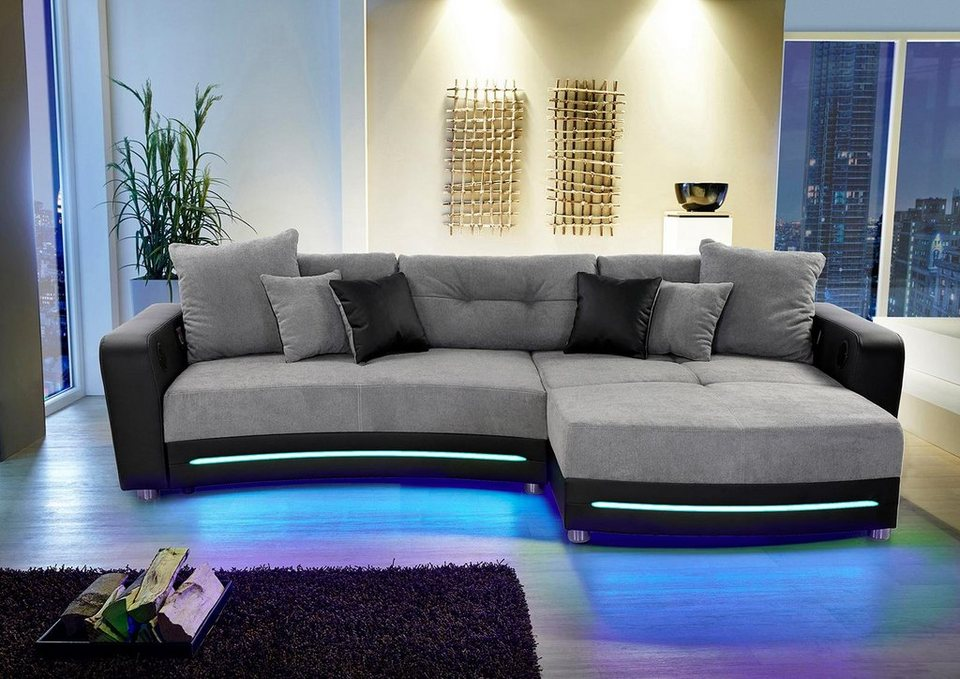 polsterecke inklusive rgb led beleuchtung und bluetooth. Black Bedroom Furniture Sets. Home Design Ideas