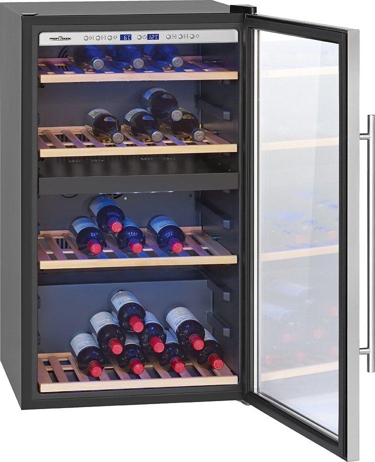 ProfiCook Weinkühlschrank 195L PC-WC 1064, für 75 Bordeauxflaschen á 0,75l in schwarz