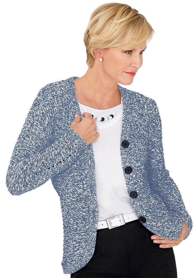 Lady Strickjacke aus sommerlichem, locker gestricktem Melangegarn in blau-weiß