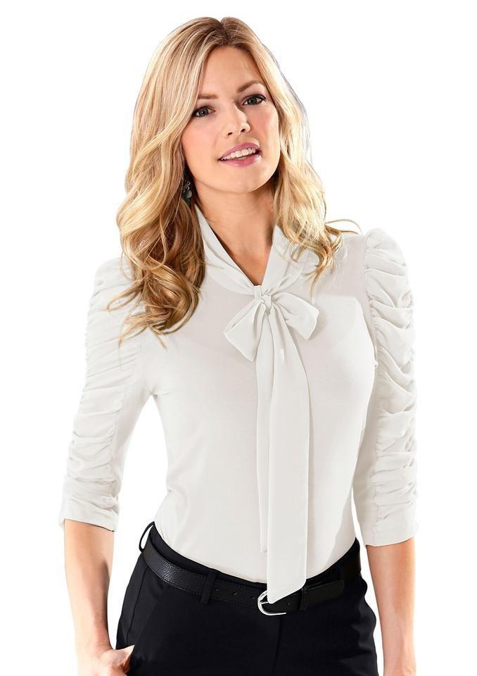 Lady Shirt mit 3/4-Ärmel in wollweiß