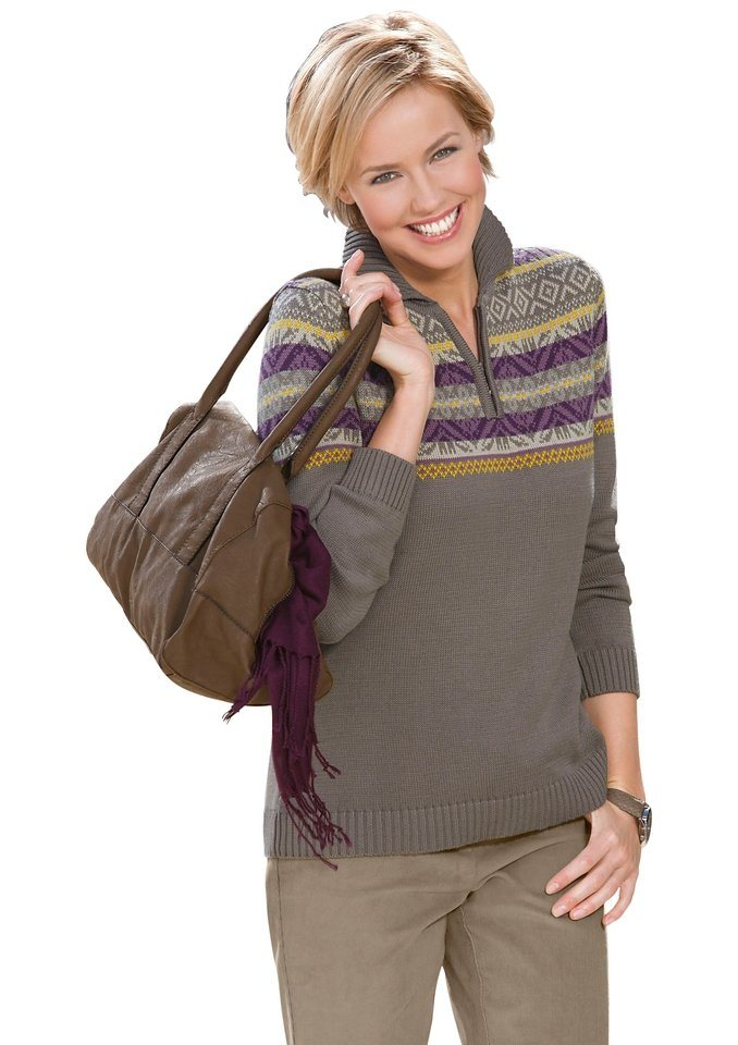 Collection L. Pullover mit Polokragen in taupe-pflaume-gemustert