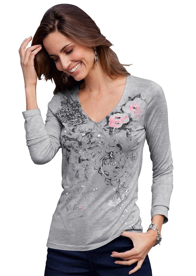 Création L Shirt mit Foliendruck in grau-meliert