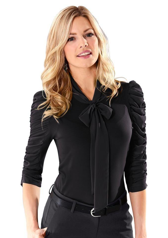 Lady Shirt mit 3/4-Ärmel in schwarz