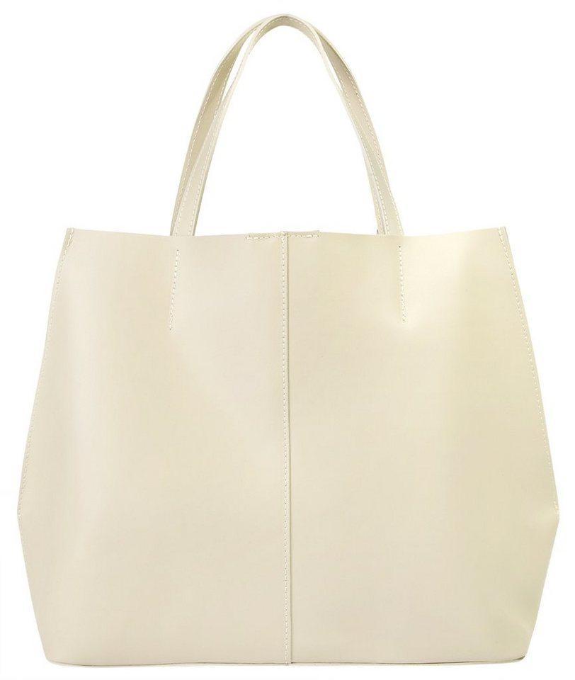 Cluty Leder Damen Handtasche in beige