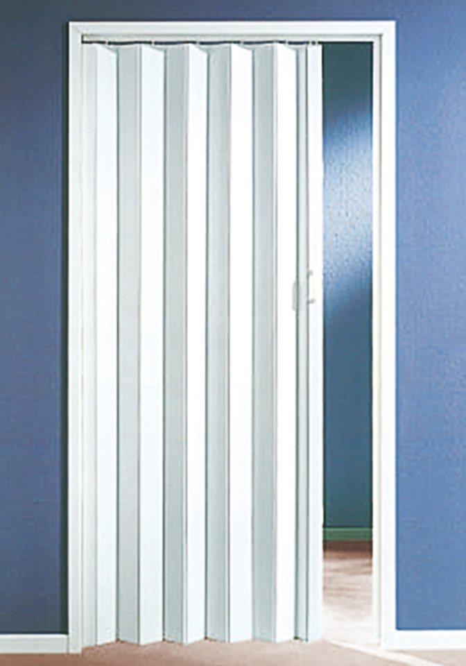 Kunststoff-Falttür, Breite bis 90 cm, weiß in weiß